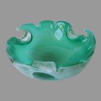 Unusual Murano Glass Bowl Big Ashtray Vintage Mid Century Green Cased Threaded
