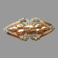 Coro Duette Vintage Gold Tone Dress Clips Pin Needs Stones TLC