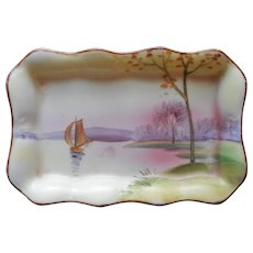 Nippon Pin Tray Hand Painted Porcelain Boat On Lake Scene Antique