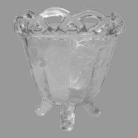 Imperial Crocheted Crystal Pattern Vase Vintage 4 Toed Wheel Cut