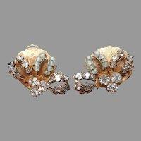 Original By Robert Earrings Clip Wired Beads Rhinestones Vintage