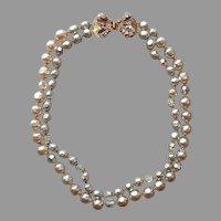 Original By Robert Faux Bumpy Pearl Necklace Wired Beads Clasp Vintage