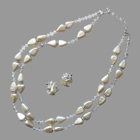 Vendome Set Necklace Clip Earrings Triangular Faux Pearls Crystal Vintage