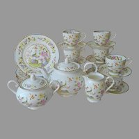 Royal Grafton England Tea Set For 8 Vintage Bone China Peacocks Peonies