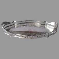 Gallery Rim Curvy Tray Antique Silver Plated Webster