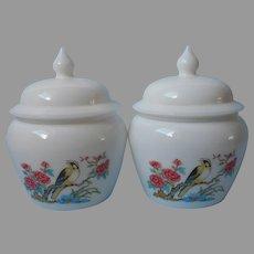 Pair Milk Glass Jars Vintage Avon Bird Flowers Vanity