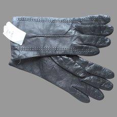 Unworn Italian Black Leather Gloves Ladies Small Vintage 1990s