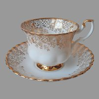 Royal Albert Cup Saucer Lacy Gold White Vintage Bone China England