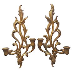 Syroco Wood Pair 2 Candle Wall Sconces Scrolls Vintage