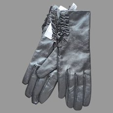 Leather Nine West Gloves Unworn Size S Ruffles Metallic Gunmetal