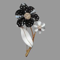 Flower Pin Enameled Black White Dots Rhinestone Vintage Avon