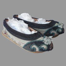 Antique Chinese Child's Shoes Embroidered Fabric Padded