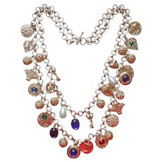 1980s Massive Charms Necklace 2 Strand Filigree Balls Faux Pearls Vintage