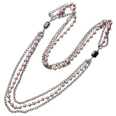 1928 Jewelry Co.  Company Necklace Pink Faux Pearls Black Glass Silver Tone Vintage