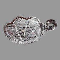 Cut Glass Nappy Relish Vintage Heavy Crystal Plenty Of Nicks