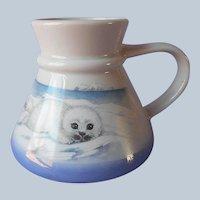 Otagiri Travel Mug Baby Seal Vintage Porcelain Blue Non Slip Commuter