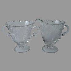 Fostoria Bouquet Creamer Sugar Etched Glass Vintage
