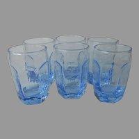 Libbey Chivalry Ice Light Blue Juice Glasses 6 Vintage