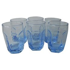 Libbey Chivalry Ice Light Blue Juice Glasses 6 Vintage