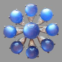 ca 1940 Blue Lucite Moonglow Cabochons Pin Vintage Art Deco Silver Tone