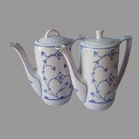 Jager Blau Saks 2 Coffee Pot Demitasse Vintage Blue White Porcelain