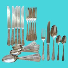 Ancestral 1924 Silver Plated Set 6 Place Settings 30 Pieces