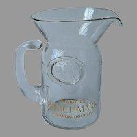 Mid Century Seagram's Benchmark Bourbon Bar Pitcher Glass Vintage