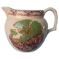 English Pitcher Royal Staffordshire Pottery Rural Scenes Vintage A.J Wilkinson