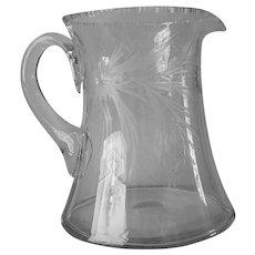 c1a 1910 Glass Pitcher Pretty Cut Motifs Antique 48 Ounces