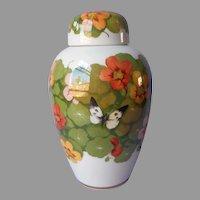 1918 Rudolf Sieck Nymphenburg Porcelain Jar With Lid Nasturtiums Antique
