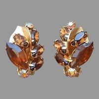 Weiss Earrings Brown and AB Rhinestones Clip On Vintage