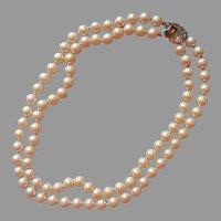Faux Smoky Quartz Glass Clasp Vintage Faux Pearls Necklace Vintage