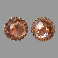 Vendome Light Brown Glass and Rhinestone Clip On Earrings Vintage