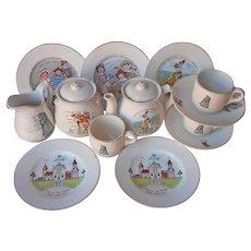 ca 1920 Child's China Tea Set Nursery Rhyme Antique TLC