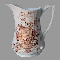 Meakin Charlotte Brown Transferware Pitcher 32 Ounce Antique