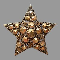 Weiss Gold Rhinestones Star Pin Vintage Antiqued Gold Tone