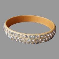 Celluloid Bangle Bracelet Cream Rhinestones Three Row Vintage
