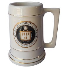 Mary Baldwin College Stein Tankard Big Mug Vintage Heavy Porcelain