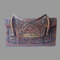 Vintage Tooled Leather Purse Handbag Loaded With Compartments