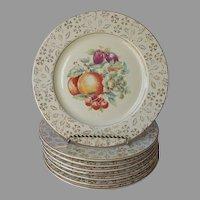 Set 8 Plates Fruit Gold Floral Rims 9 Inch Vintage Iroquois
