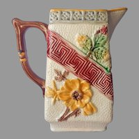 Majolica Pitcher Antique Victorian Square Yellow Brown Green