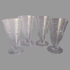 Hawkes Calais Cut Glass Iced Tea Glasses 4 Vintage Stemware Footed
