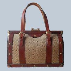 1960s John Romain Purse Tweed Leather Doctor Bag Vintage