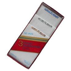 Monogram A Men's Handkerchiefs 3 Unused In Package Vintage