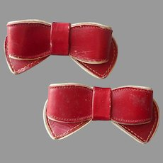 1940s Shoe Clips Red Cream Leather Bows Vintage