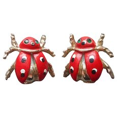 Pair Ladybug Scatter Pins 1960s Vintage Painted