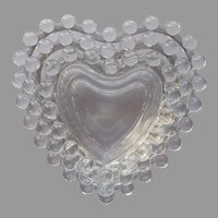 Imperial Candlewick Set 3 Nesting Heart Dishes Ashtrays Trinket Vintage Glass