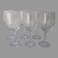 Libbey Winter Scene Tall Water Wine Goblets Glasses 6 Vintage