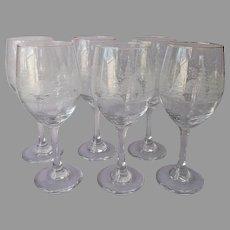 Libbey Winter Scene Tall Water Wine Goblets Glasses 6 Vintage