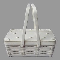 Basket Purse Fabric Lined Vintage Japan White Novelty Picnic Style